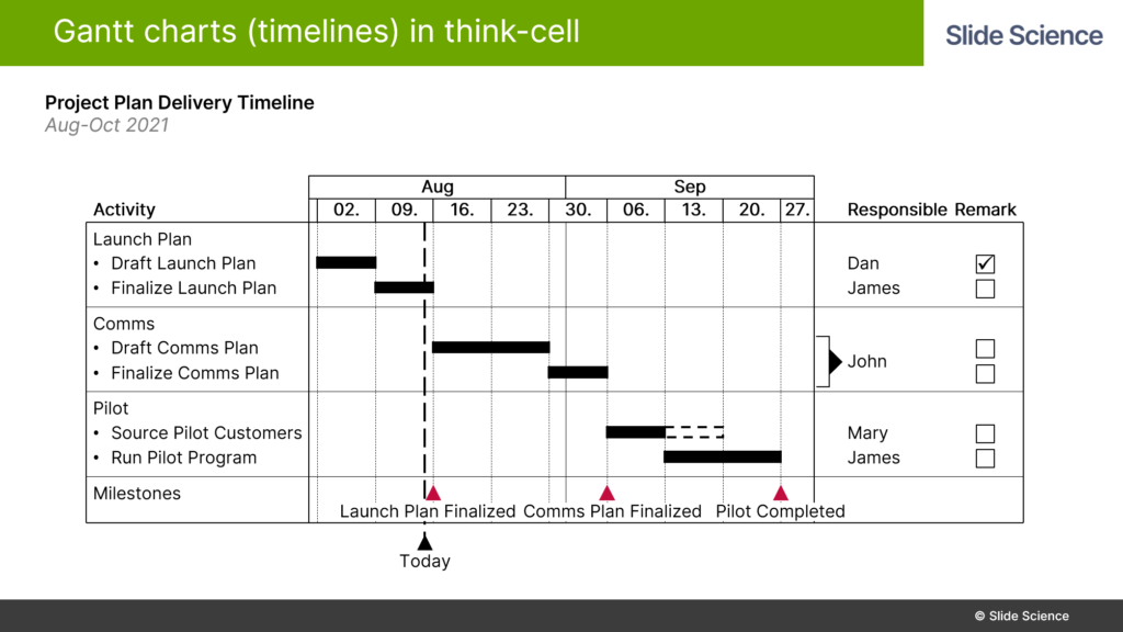 Adding A Remarks Column to Gantt Charts in Think-Cell