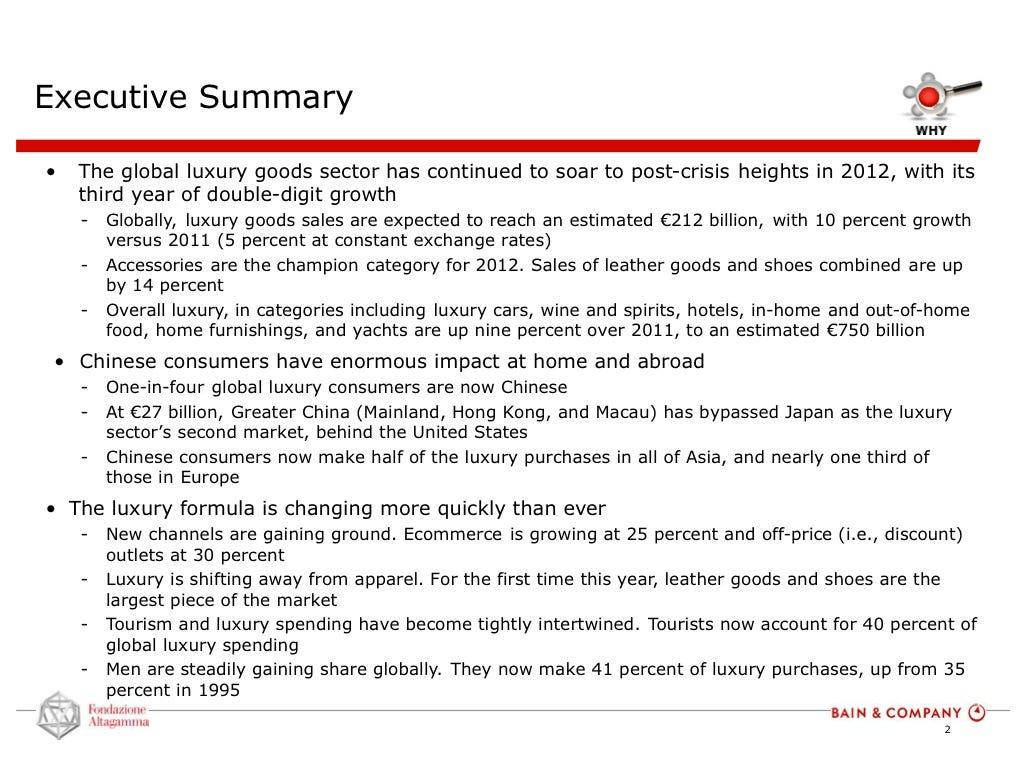 Bain executive summary slide