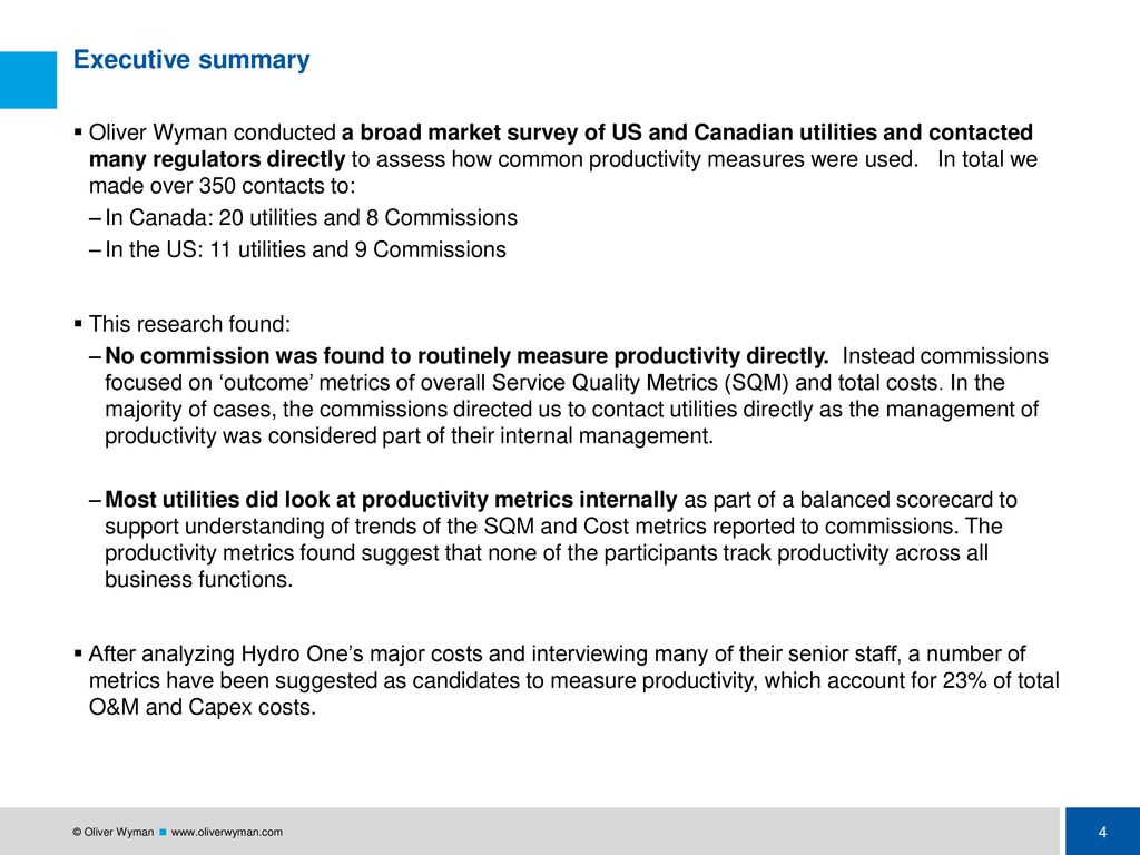 Oliver Wyman executive summary slide